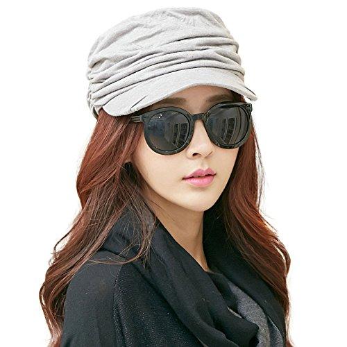 SIGGI Barett Mütze Schirmmütze Frauen mit Visor Baskenmütze grau