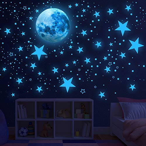 Glow in The Dark Stars for Ceiling,Glow in The Dark Stars and Moon Wall Decals, 1088 Pcs Ceiling Stars Glow in The Dark Kids Wall Decors, Perfect for Kids Nursery Bedroom Living Room