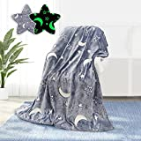 Glow in The Dark Throw Blanket for Kids 50 x 60 Inches,Glowing Blanket with Star Moon Pattern for Bed Sofa Couch,Baby Soft and Cozy Warm Cute Blankets,Unique Gifts for Boys Girls and Grandkids
