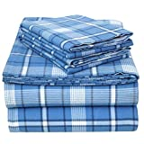 EnvioHome 160 GSM Durable Cotton Winter Brushed Flannel Sheets Queen Luxury Bed Sheets - 4 Pc - Queen, Dark Blue Plaid
