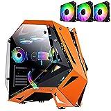 Caja Pc Gamer Caja Para Computadora ATX Amarilla, Caja Para Juegos De Torre Media Vidrio Templado De Doble Cara, Espacio Para 8 Ventiladores De Refrigeración, Lista Para Refrigeración Por Agua
