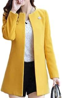 Macondoo Women's Collarless Woolen Open Front Overcoat Winter Pea Coat Jacket