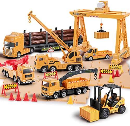iPlay iLearn Truck Toy Sets Construction Cargo Transport Vehicles Playset Gantry Crane Logging product image