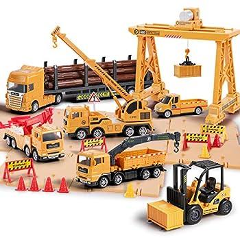 iPlay iLearn Construction Truck Toy Set Cargo Transport Vehicles Site Playset Gantry Crane Trailer Logging Pickup Tow Trucks Forklift Birthday Gift for 3 4 5 6 Year Olds Boys Kid Toddler Child