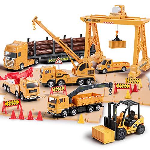 iPlay, iLearn Construction Truck Toy Set, Cargo Transport Vehicles Site Playset, Gantry Crane, Trailer, Logging, Pickup Tow Trucks, Forklift, Birthday Gift for 3 4 5 6 Year Olds Boys Kid Toddler Child