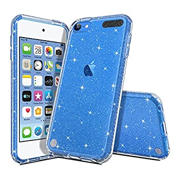 ULAK Clear Glitter Case for iPod Touch 7th/6th/5th Generation Hybrid Slim Cute Case for Girls Women Shockproof Anti-Scratch Soft TPU Bumper Cover for iPod Touch 7/6/5  Glitter