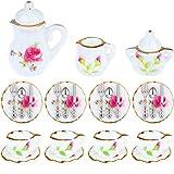 JETTINGBUY Miniature Porcelain Tea Cup Set Dollhouse Miniature Porcelain Tea Set Dollhouse Accessory Porcelain Tea Set with Miniature Knife, Fork and Spoon Combination