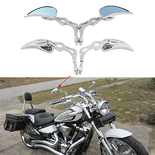 Chrome 8mm/10mm Motorcycle Teardrop Rearview Mirrors For Honda Yamaha Kawasaki Suzuki Aprilia