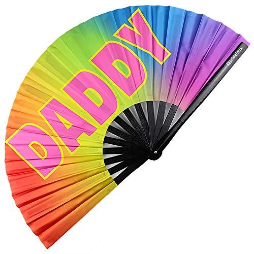 Pride Fans Daddy Fan Large Hand Fan Loud Clack Dance Fan Big Clap Drag Queen Fan Rave Festival Fan Chinese Folding Fan for Men Women Club Daddy Drag Clap Snap Fan