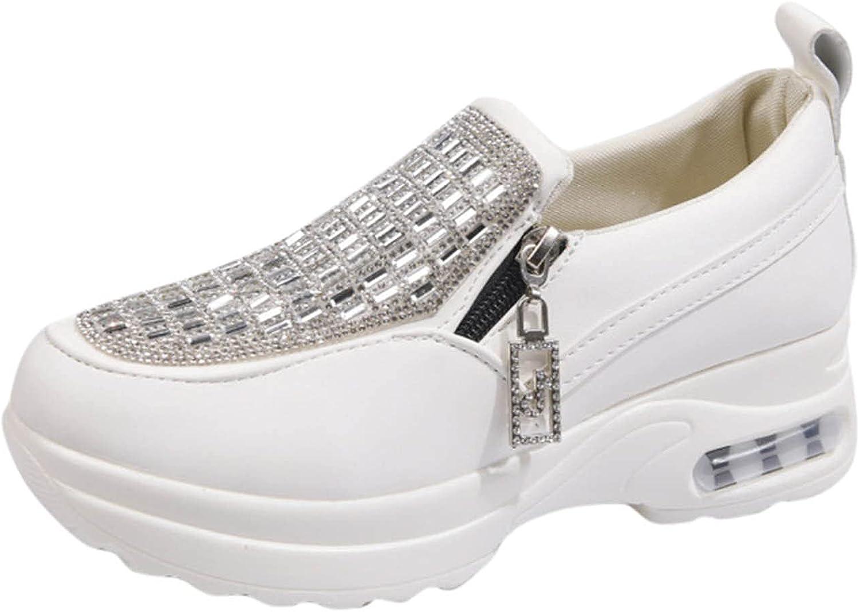 FADK Women's Fashion Rhinestone Zipper Casual Shoes Thick Bottom Cushioned Sneakers