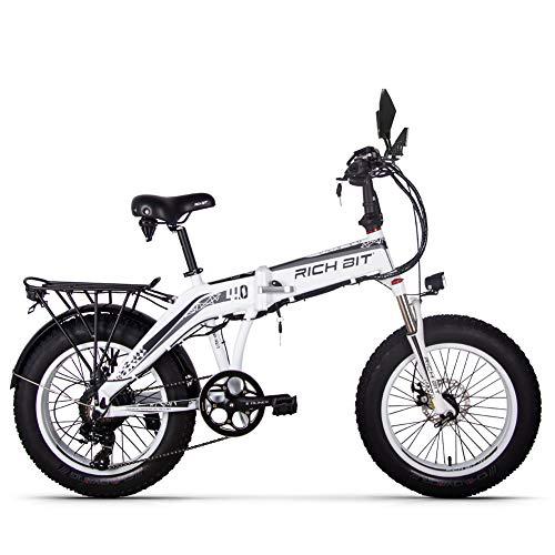 RICH BIT RT016 48V * 500 vatios Bicicleta eléctrica Bicicleta de montaña Bicicleta Plegable de 20 Pulgadas 9.6 Ah LG batería de Litio 4.0 Pulgadas Fat Tire Bicicleta