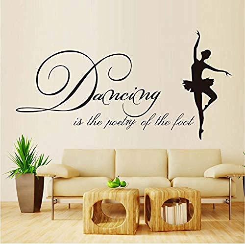 Wall Stickers,Dancing is The Poetry of The Foot Vinyl Art Wall Decals Modern Ballet Living Room Hot Sale Ballerina Wall Stickers Self Adhesivew59*30cm