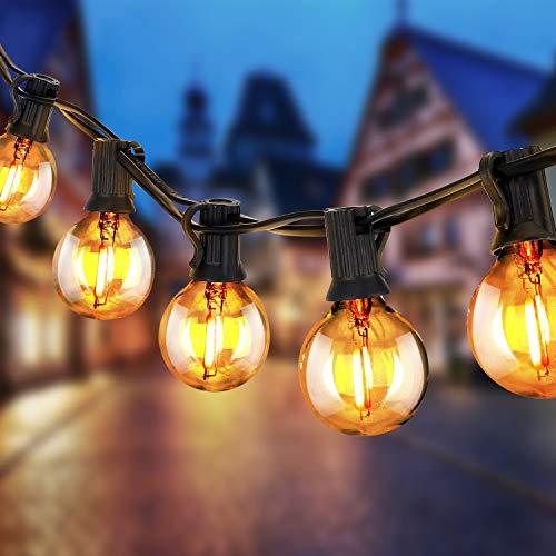 Guirnaldas Luminosas Exterior LED,ToZoja G40 Cadena de Luces con 25+2,10 Veces la Duración Incandescentes,Consumen Hasta un 90% Menos,Perefcto para Fiesta,Boda,Jardín Patio Cafe, IP44 Impermeable