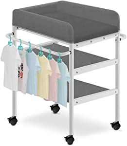 GUO  Baby Crib Diaper Table Care Station Storage Box Solid Wood Portable Multifunctional Bed Crib Newborn Shower Rack Diaper Changing Tables with Towel Drying Rack