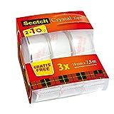 Scotch 6-1975C - Paquete de 3 Cintas Crystal, 19 mm x 7,5 m