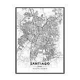 Blanco y negro Santiago Chile latitud longitud lienzo arte pintura sala de estar cocina mapa cartel decoración del hogar-50x70cm sin marco