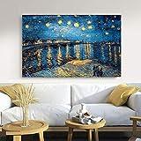 baodanla Frameless Oil paintingElegante Noche Estrellada de poesías en el río Ródano por Vicent...