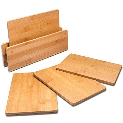 RSW24 4 Frühstücksbrettchen Bambus 25 x 17 cm mit Holztänder,Schneidebrett, Brettchen fürs Frühstück in modernem Design pflegeleicht und messerschonend