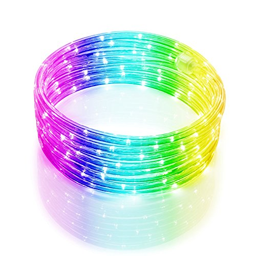 Meilo 16 FT LED Rope Light Color Changing, Connectable, Waterproof, Indoor/Outdoor Use, Backyards, 360° Directional Shine, Decoration, Party, Landscape, Weddings, Christmas Décor