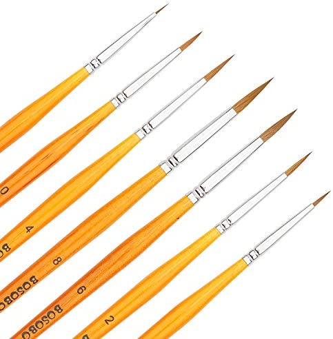 BOSOBO Miniature Paint Brushes Detail Set 6 Pcs Round Pointed Small Paintbrushes for Acrylic product image