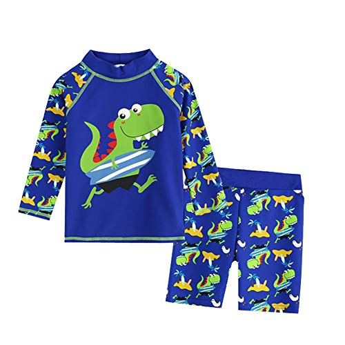 Bestsen Baby Boys Two Piece Rash Guard Swimsuits Kids Long Sleeve Sunsuit Swimwear, Blue and Green Dinosaur M