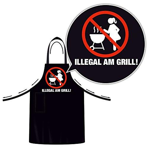 Schürze Lustige Grillschürze mit Verstellbarem Nackenband BBQ Schürze Kochschürze (Uni, Illegal am Grill)