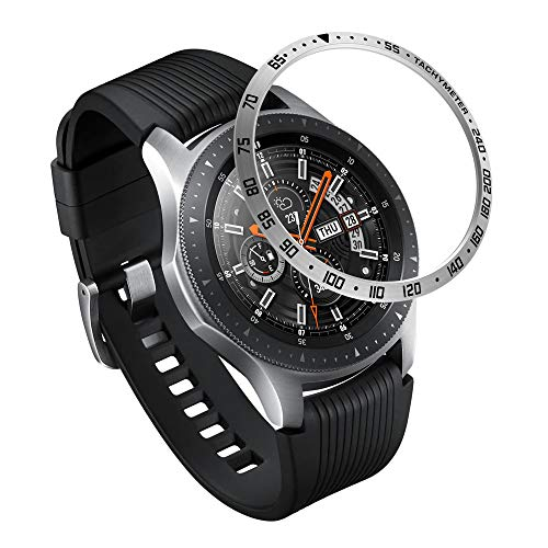 AISPORTS Bisel Styling compatible para Samsung Gear S3 Frontier/Classic Bisel Ring Cubierta adhesiva anti arañazos Acero inoxidable Metal Bisel Funda protectora para Samsung Galaxy Watch 46mm