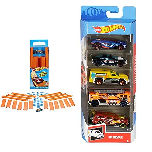 Hot Wheels BHT77 Track Builder Gerade Rennbahn Set, Trackset Zubehör & Wheels 01806 5er Pack 1:64 Die-Cast Fahrzeuge Geschenkset, je 5 Spielzeugautos, zufällige Auswahl, ab 3 Jahren