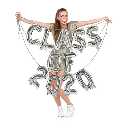 Treasures Gifted 16 Inch Class of 2020 Foil Balloon Silver Banner Mylar Letter and Number Balloons Garland Graduation Decorations for University College High School Graduate Party Supplies