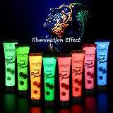 Neon Bodypainting Set, Luckyfine 8 Farben 28ml Körpermalfarben Kit für Body und Facepainting, für...