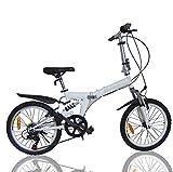 MASLEID Bicicleta Plegable 7 Velocidad 20 Pulgadas Ruedas Mountain Bike, White
