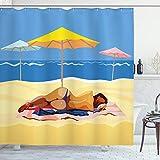 Beach Decor Shower Curtain by, Illustration of a Woman in Bikini Lying on