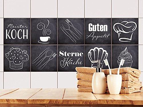 GRAZDesign Fliesenaufkleber Anthrazit mit Spruch Guten Appetit für Küche | alte Küchen-Fliesen überkleben | Fliesenbild selbst gestalten (10x10cm // Set 10 Stück)