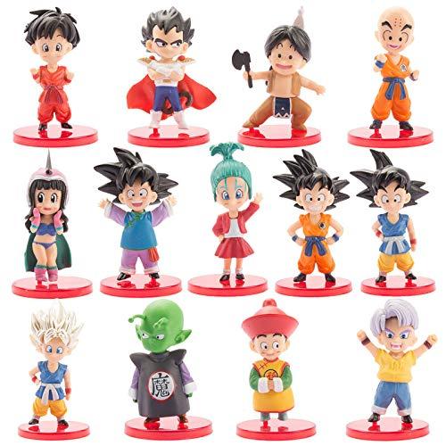 13 unids / set Dragon Ball Mini figuras Goku Vegeta Trunks muñeca PVC juego de figuras de acción pequeñas figuras de juguete de ajedrez para niños regalo de cumpleaños