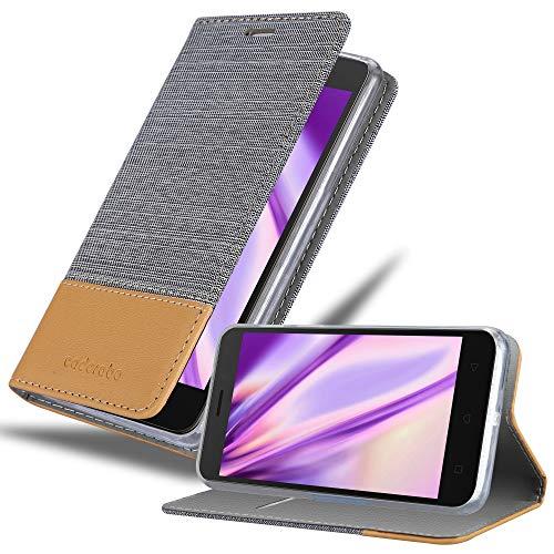 Cadorabo Hülle für Lenovo K6 / K6 Power in HELL GRAU BRAUN - Handyhülle mit Magnetverschluss, Standfunktion & Kartenfach - Hülle Cover Schutzhülle Etui Tasche Book Klapp Style