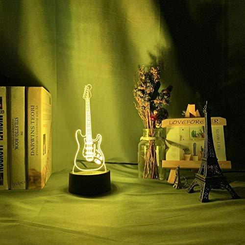 Lámpara de noche 3D Instrumento musical Rgb Juguetes para niños Luz de noche para bebés de vacaciones Led 7 colores que cambian la decoración del dormitorio Luz de guitarra-16_Color_With_Remote