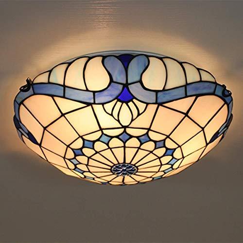 ZHANGDA 16-Zoll-Tiffany-Stil Schlafzimmer Deckenleuchte Europäischen Vintage Unterputz 3-Licht-Deckenleuchte für Schlafzimmer Wohnzimmer Bar Flur