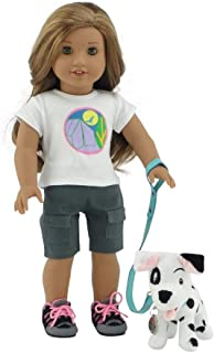 "Emily Rose 18 Inch Doll Accessories | Adorable 101 Dalmatian-Inspired Patch Puppy Dog with Teal Leash, Matching Collar and Dog Tag | Fits 18"" American Girl Dolls"