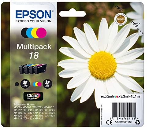 Epson Multipack 18 Pâquerette, Cartouches d'encre d'origine, 4 couleurs : Noir, Cyan, Magenta, Jaune, XP-30 XP-102 XP-202 XP-205 XP-212 XP-215 XP-225 XP-302 XP-305 XP-312 XP-315 XP-322 XP-325 XP-402
