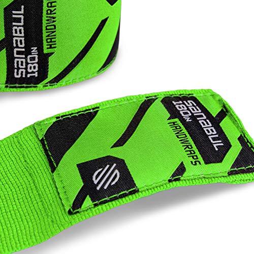 Sanabul Elastic Professional 180 inch Handwraps for Boxing Kickboxing Muay Thai MMA (Green, 180