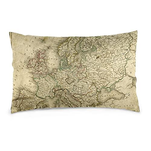 Fundas de Almohada 16X24 Pulgadas Grubby Vintage Map of Europe from 1837 Throw Pillow Fundas Sofá Funda de cojín para Coche Decorativo para el hogar 40X60CM