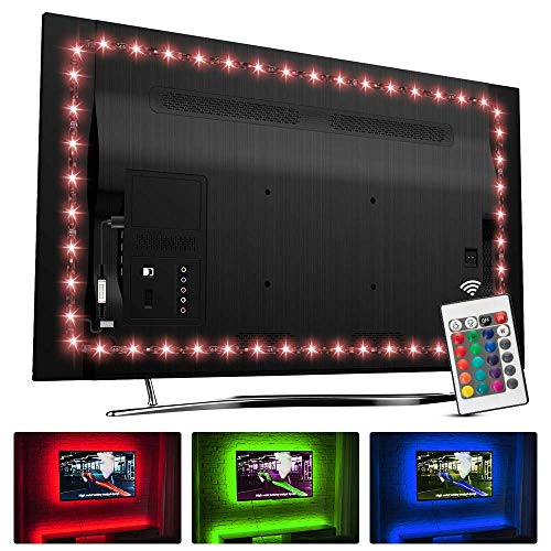 TV LED-Hintergrundbeleuchtung für 32-60 Zoll, Hamlite 2.5M LED-Streifenleuchten W-förmiges Kurvendesign, Syn/On mit TV, 16 Farben Ändern der TV-Hintergrundbeleuchtung Bias Lighting
