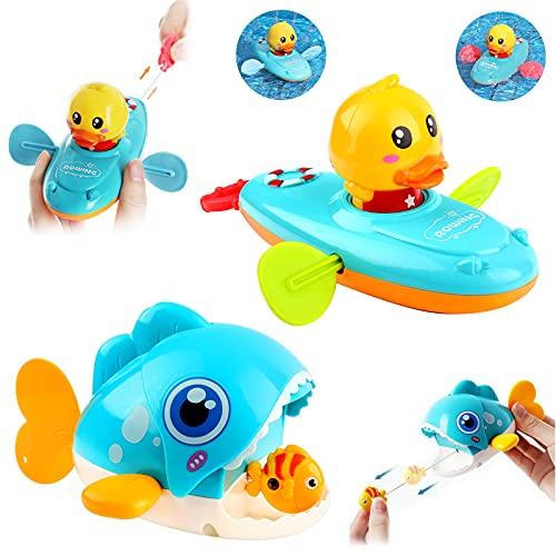 Johiux Wasserspielzeug Badewanne,2 Stücke Badewanne Spielzeug Kinder,Schnur Ziehen Badespielzeug.für Kinder Baby ab 3+ Ages.
