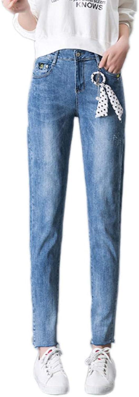 QJKai Women's High Waist Stretch Jeans Spring and Summer Slim Fit Pencil Pants Fashion Irregular Hem Comfy Casual Pants