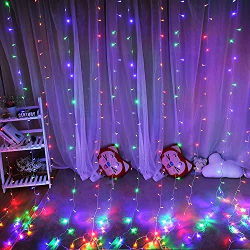 Hezbjiti 600 LEDs Tenda Luminosa 6m x 3m, Luce Stringa Luminosa 8 Modalità Luce Catena, Decorare Interni ed Esterni Salotto Finestra Porta Patio Giardino Feste Natale Halloween Matrimonio (Multicolor)