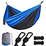 Portable Camping Hammock, ONCIN Outdoor Hammocks with Tree Straps, Carry Bag, Steel Carabiners, Lightweight Single Double Travel Hammock for Hiking Backpacking, Hammock Twin Navy & Charcoal