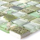 Glasmosaik Natursteinfliesen Tatvan Muschel Grün | Wandfliesen | Mosaik-Fliesen | Glas-Mosaik | Fliesen-Bordüre | Ideal für die Küche und Badezimmer (auch als Muster erhältlich)
