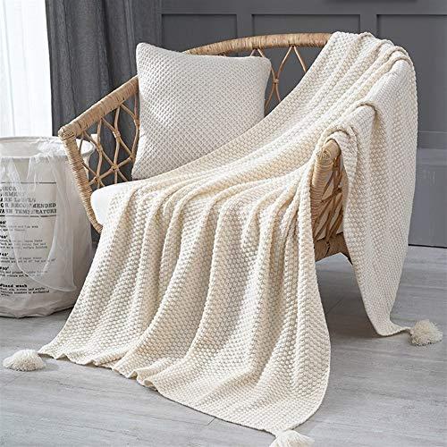 LOOEST Suave Estilo Pastoral de Punto Manta del sofá de la Manta del Tiro Cubierta Fina Manta usable Casa Dormitorio (Color : Cream, Size : 120x150cm)