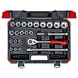 GEDORE red Steckschlüsselsatz, 24-teilig, Mit Umschaltknarre, Ratsche, Steckschlüssel und Bitsatz, 1/2'