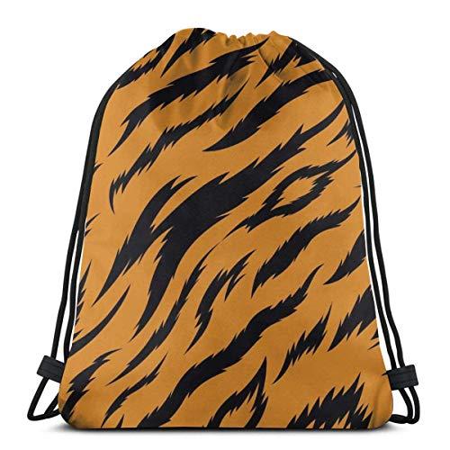 LREFON Mochila con cordón para gimnasio, mochila con estampado de tigre, mochila para viajes, almacenamiento, organizador de zapatos, ahorro de botella de agua para niños